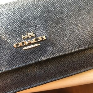 Coach Bags - Coach leather blue wallet snake leather